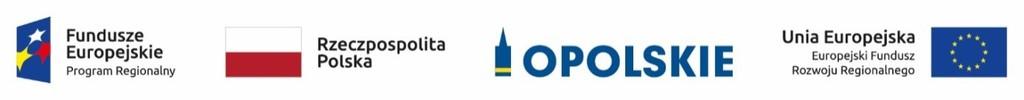 Logotyp projektu współfinansowanego z Unii Europejskiej. Kolejno od lewej strony logotyp Fundusze Europejskie Program Regionalny na niebieskim tle trzy gwiazdki w kolorach żółtym czerwonym i białym, następnie flaga Rzeczpospolitej Polski w kolorach białym u góry i czerwonym na dole,  logotyp Urzędu Marszałkowskiego Województwa Opolskiego na białym tle niebieski symbol Wieży Piastowskiej poniżej której dwie krzywe w kolorze żółtym symbolizujące rzekę Odrę i niebieski tekst Opolskie, następnie jest tekst Unia Europejska Europejskie Fundusze Strukturalne i Inwestycyjne oraz flaga Unii Europejskiej żółte gwiazdki ułożone o okrąg na niebieskim tle.