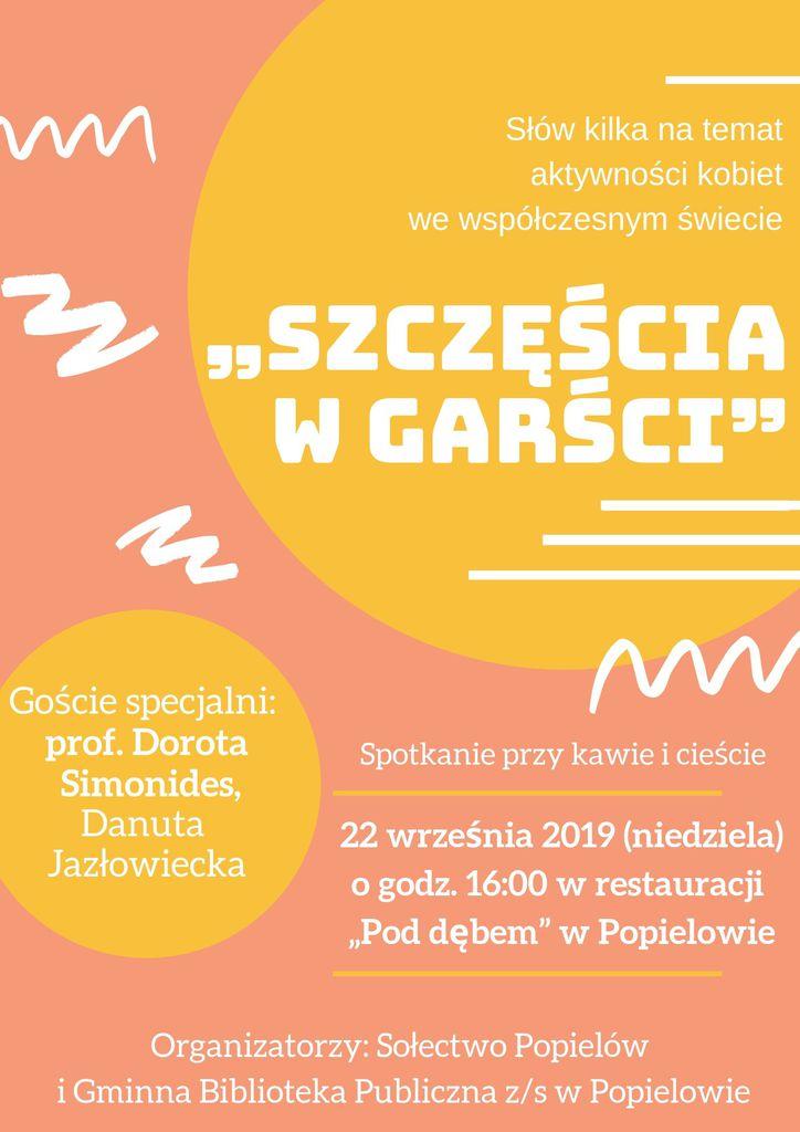 Plakat - Szczęścia w Garści - Spotkanie na temat aktywności kobiet we współczesnym świecie