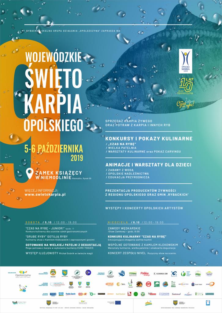 Plakat - Wojewódzkie święto karpia opolskiego w Niemodlinie 6 październik 2019 rok