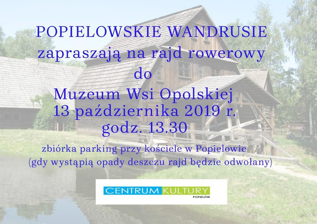 Plakat - zaproszenie na rajd rowerowy do Muzeum Wsi Opolskiej