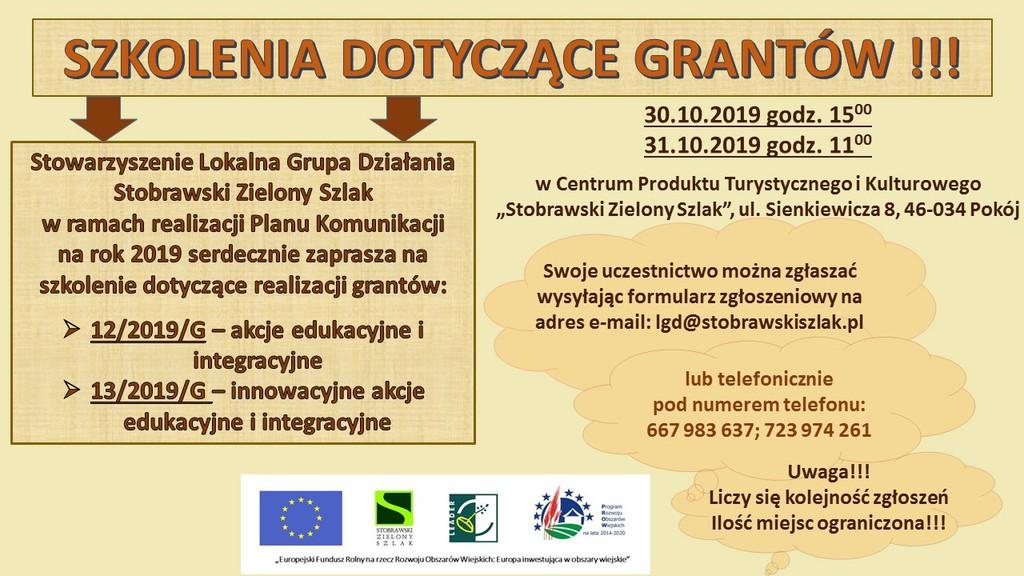 Stobrawski Zielony Szlak informacja o szkoleniach dot. grantów