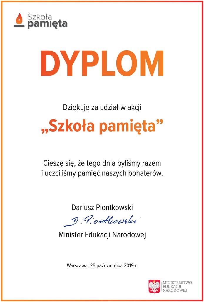 Dyplom Podziękowanie Ministra Edukacji za udział w akcji - Szkoła Pamięta.jpeg