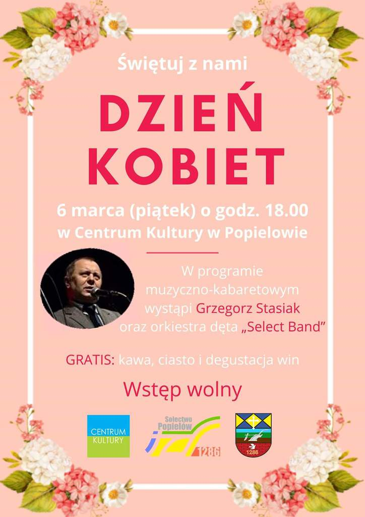 Plakat - zaproszenie na święto Dnia Kobiet 6 marca w Centrum Kultury w Popielowie