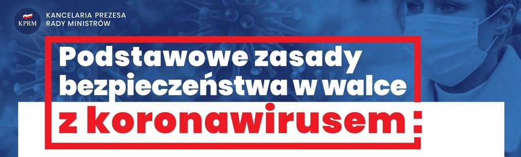 plakat zasady bezpieczeństwa koronawirus