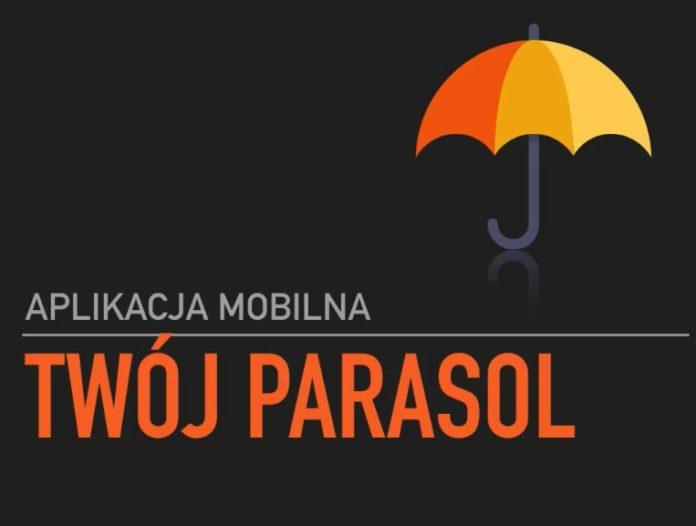 """Plakat aplikacji mobilnej ,,Twój Parasol"""" Na plakacie na czarnym tle widnieje rysunek parasola"""