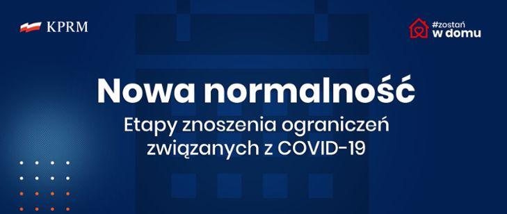 Plakat nowa normalność sytuacja Covid