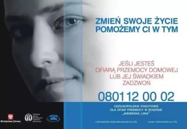 plakat niebieska linia pomoc osobom poszkodowanym przemocą