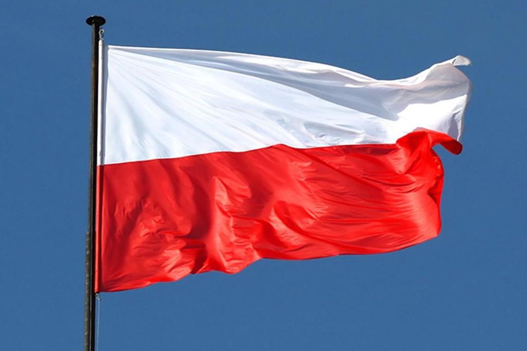 Na grafice widnieje flaga Polski (biało-czerwona)