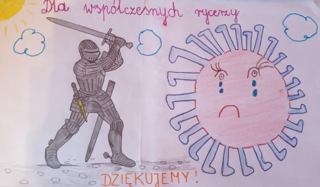 Rysunek dziecka rycerz walczy z wirusem