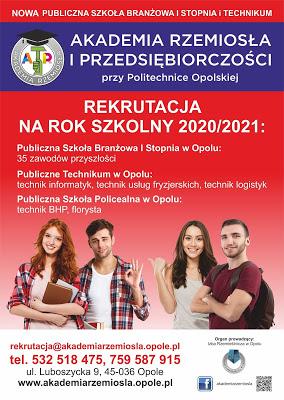 Akademia rzemiosła rekrutacja na nowy rok szkolny plakat informacyjny