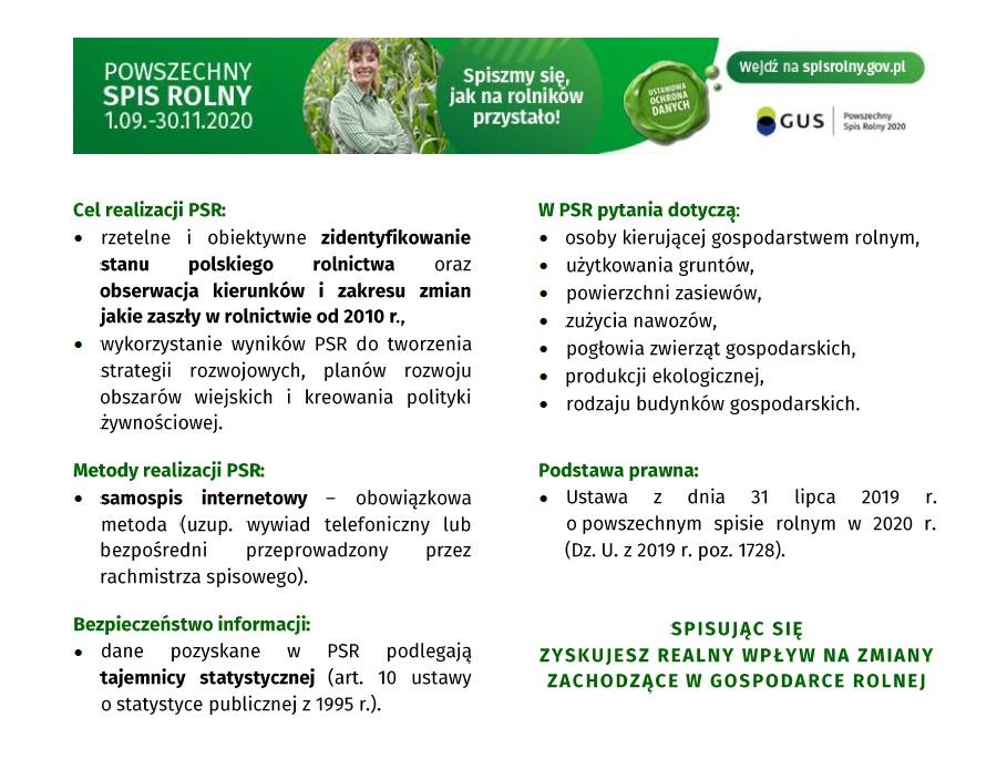 Plakat zawiera informacje odnośnie spisu rolnego