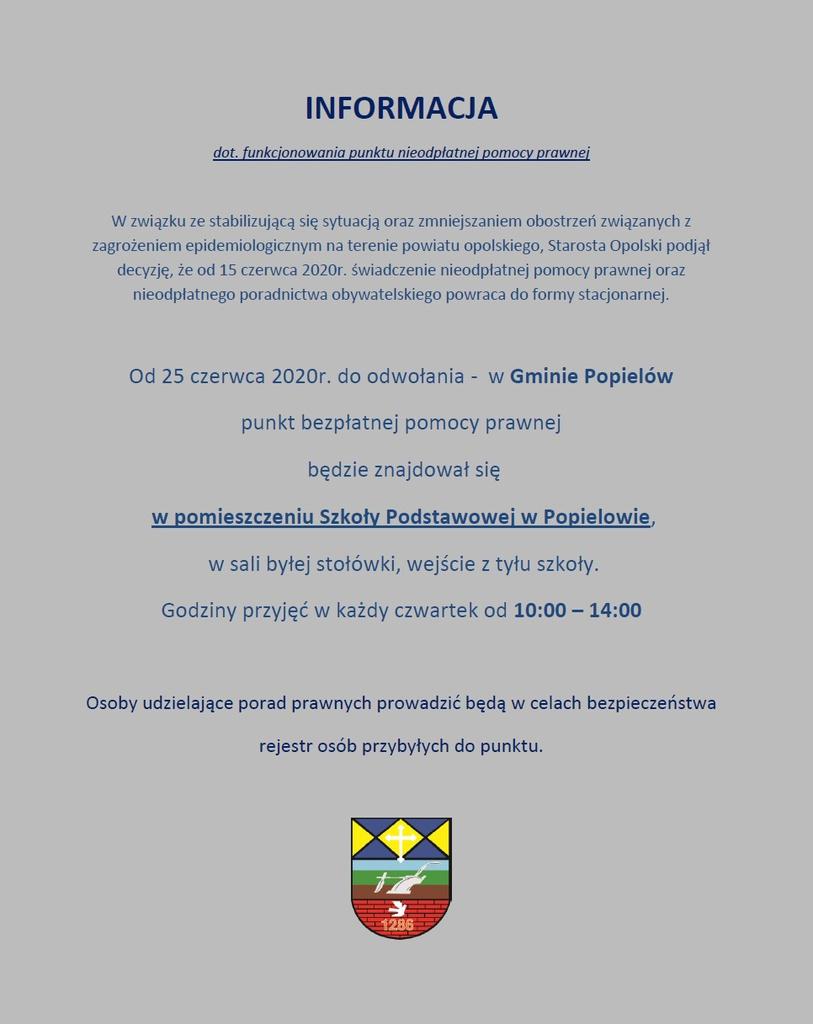 plakat z informacją o pomocy prawnej