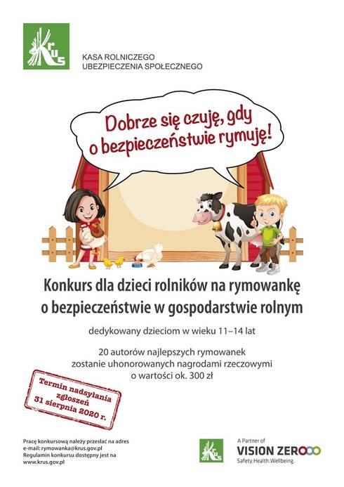 Plakat przedstawia informacje dotyczące konkursu na rymowankę skierowanego do dzieci rolników
