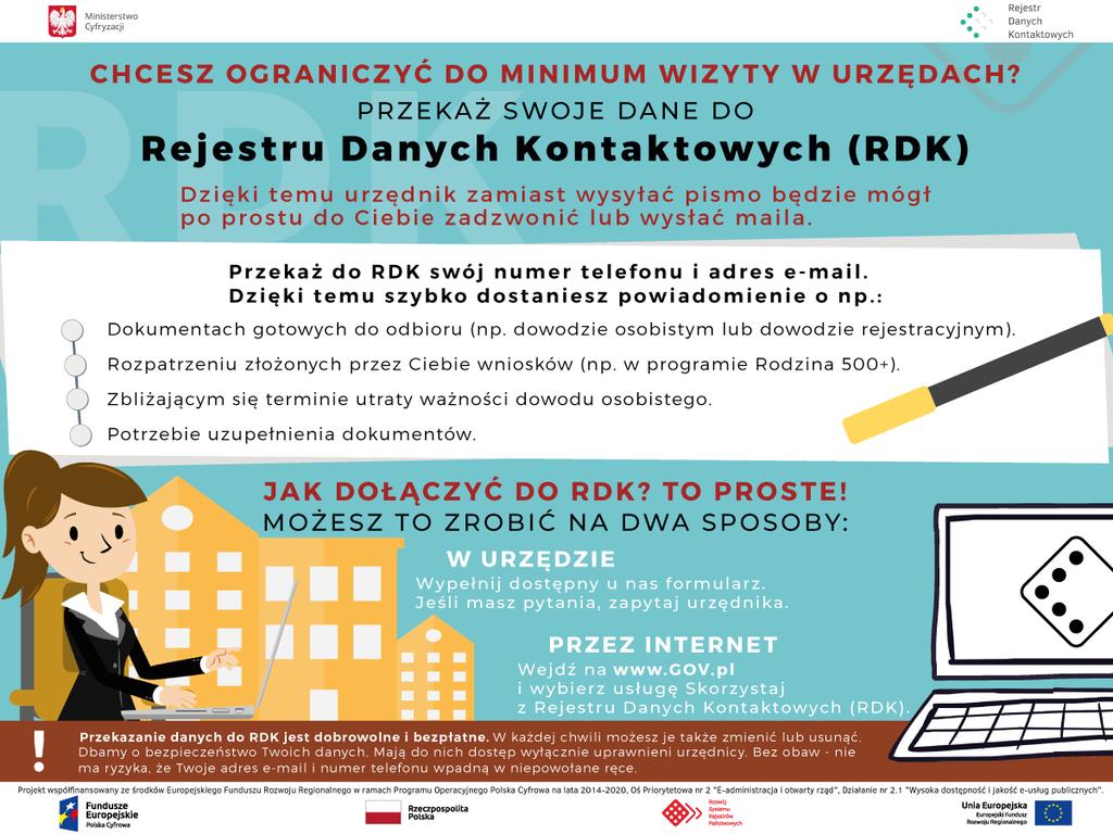 Rejestr Danych Kontaktowych - Plakat Ministerstwa Cyfryzacji zachęcający do zapisania się w rejestrze danych kontaktowych.