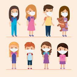 Grafika przedstawiająca dzieci w maseczkach