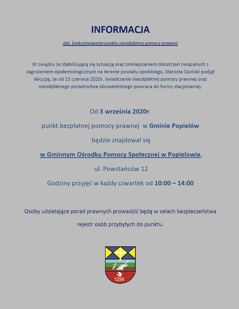 Plakat pomoc prawna w Gminie Popielów
