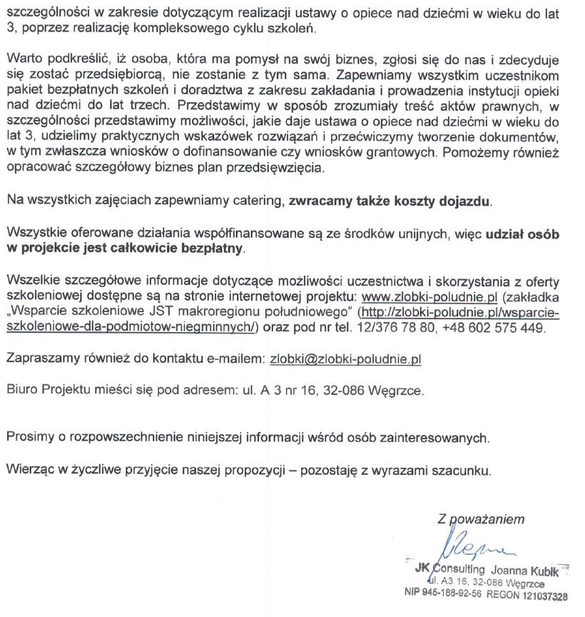 Informacja o szkoleniu żłobki