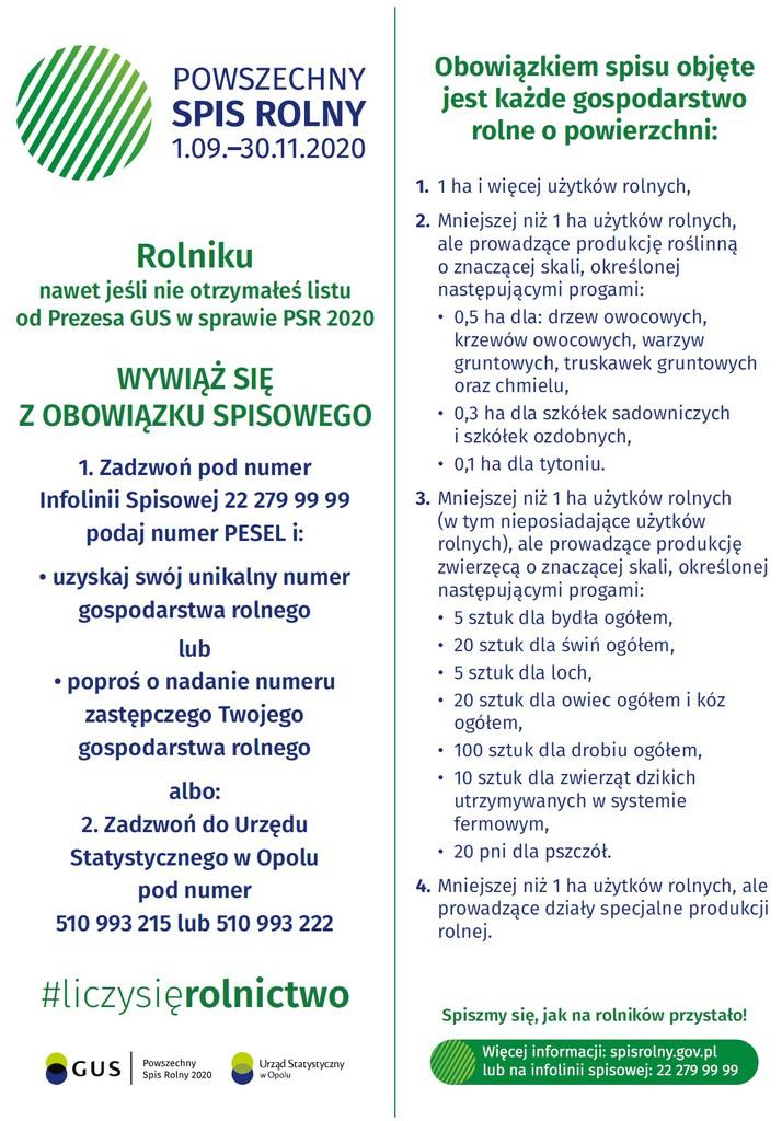 Powszechny Spis Rolny - ulotka informacyjna Głównego Urzędu Statystycznego