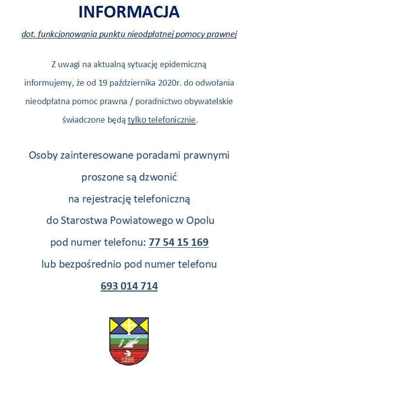 Plakat informacja o pomocy prawnej