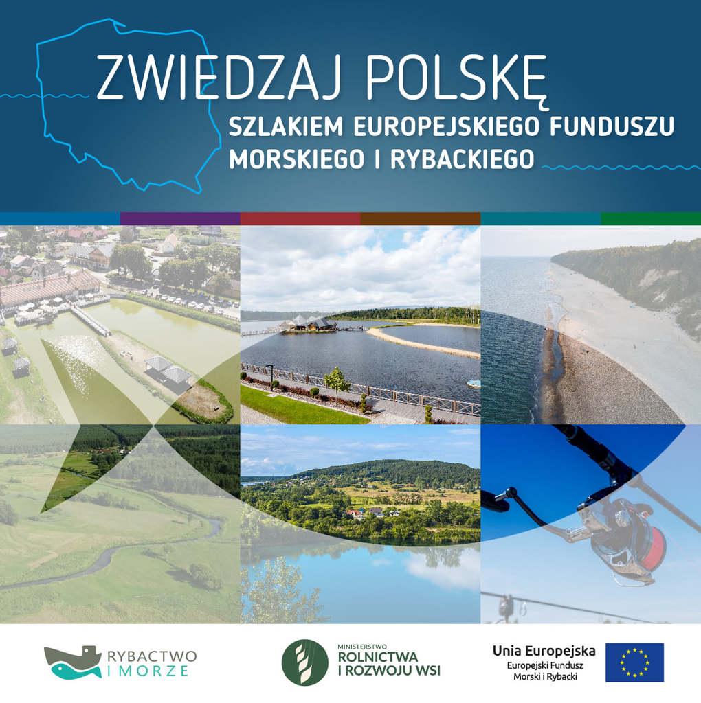 """Pierwsza strona z przewodnika ,,Zwiedzaj Polskę"""" - Szlakiem Europejskiego Funduszu Morskiego i Rybackiego. W przewodniku zostały opisane najciekawsze miejsca w Polsce, w tym kąpielisko w St. Siołkowicach. Na pierwszej stronie widoczne są zdjęcia najpiękniejszych miejsc w Polsce, na których konturami zaznaczona jest ryba . Na górze znajdują się kontury polski na niebieskim tle. Na dole znajduje się znak szarej łodzi i ryby - Rybactwo i Morze,  zielony znak z białymi symbolami- Ministerstwo Rolnictwa i rozwoju wsi, oraz flaga Unii Europejskiej- żółte gwiazdy w kształcie koła na granatowym tle."""