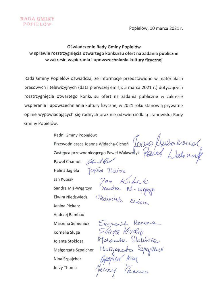 Oświadczenie Rady Gminy Popielów w sprawie rozstrzygnięcia otwartego konkursu ofert na zadania publiczne w zakresie wspierania i upowszechniania kultury fizycznej.jpeg