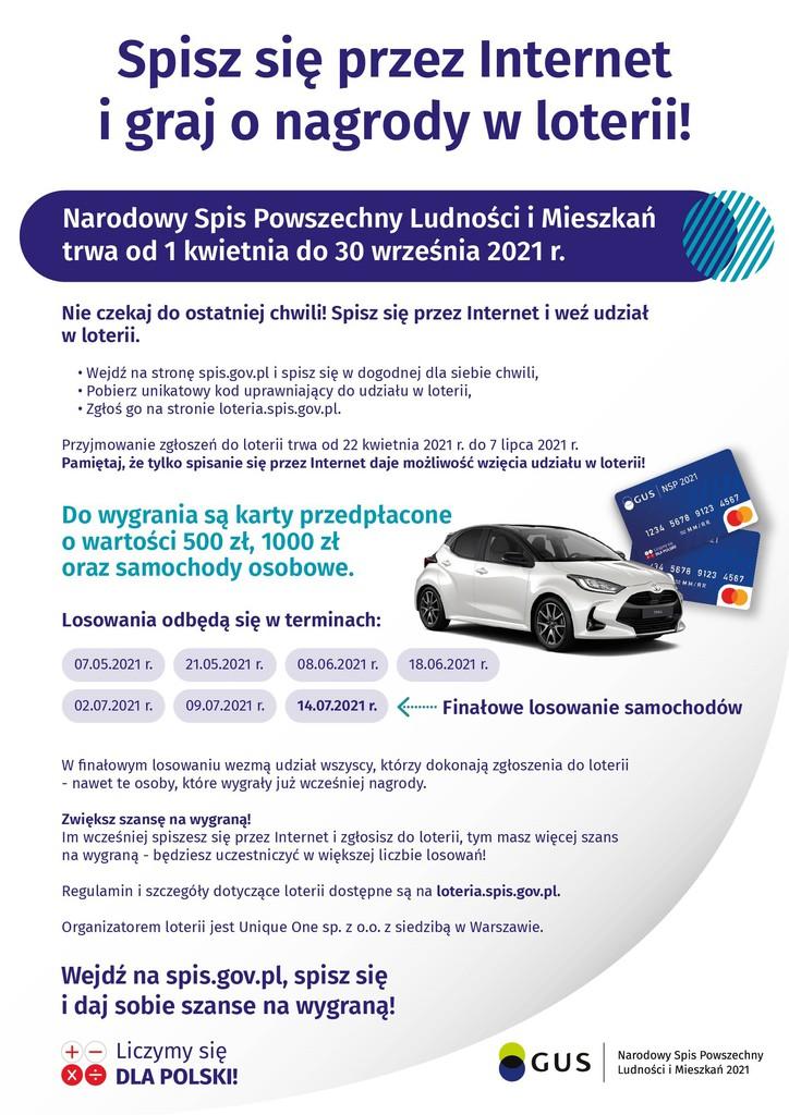 Narodowy Spis Powszechny Ludności i Mieszkań - plakat zachęcający do spisu i informujący o nagrodach w loterii