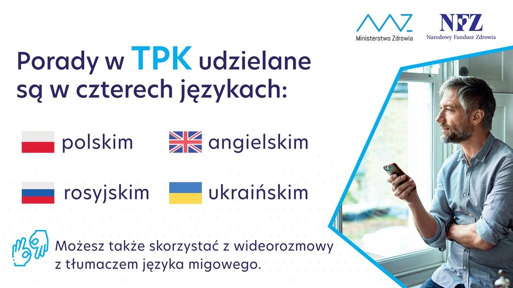 Teleplatforma Pierwszego Kontaktu - języki w których dostępna jest TPK