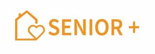 Logotyp Senior+ Logotyp jest koloru złotego z narysowanym obok domkiem z sercem.