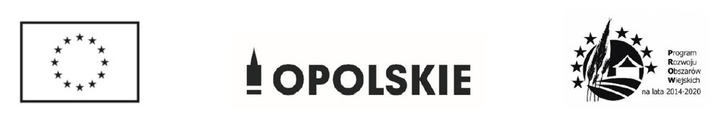 Logotyp projektu realizowanego w ramach Programu Rozwoju Obszarów wiejskich. Logotyp w kolorze czarnobiałym. Od lewej flaga Unii Europejskiej, następnie logotyp logotyp województwa opolskiego wieża piastowska i tekst OPOLSKIE. Z prawej strony logotyp Programu Rozwoju Obszarów Wiejskich na lata 2014-2020