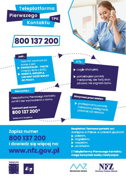 Teleplatforma Pierwszego Kontaktu Narodowy Fundusz Zdrowia informuje, że działa Teleplatforma Pierwszego Kontaktu służąca do uzyskania pomocy lekarskiej nocnej i świątecznej. Otrzymujesz prze telefon profesionalną poradę medyczną pielęgniarki, położnej lub lekarza. Bezpłatna i fachowa porada jest dostępna w Polsce w czterech językach: - Polskim - Angielskim - Ukraińskim  - Rosyjskim  Z teleplatformy pierwszego kontaktu mogą korzystać osoby niesłyszące.  Zadzwoń pod numer 800 137 200  Dowiedz się więcej na www.nfz.gov.pl Na plakacie widzimy wyszczególnione na granatowym i niebieskim tle informację oraz panią ubraną w strój lekarza, prowadzącą rozmowę przez telefon. Na dole plakatu znajdują się symbole Ministerstwa Zdrowia i Narodowy Fundusz Zdrowia.