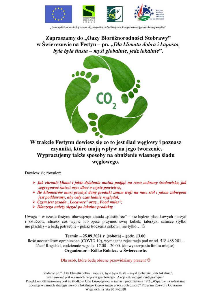 """Plakat - zaproszenie na festyn  pn. """"""""Dla klimatu, dobra i kapusta, byle była tłusta – myśl globalnie, jedz lokalnie"""" w Świerczowie, 25 września 2021r. o godz. 13:00"""