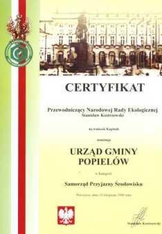 Certyfikat - Samorząd Przyjazny Środowisku.jpeg
