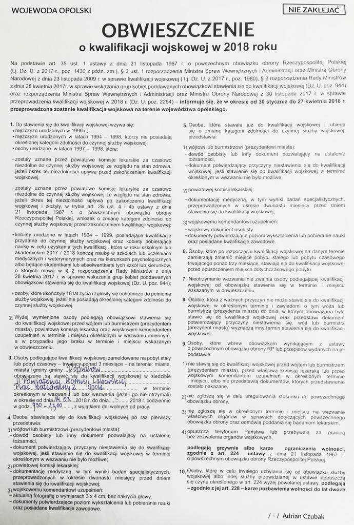 Obwieszczenie o kwalifikacji wojskowej w 2018 roku