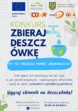 """Plakat promujący konkurs """"Zbieraj deszczówkę"""" Ty też możesz pomóc środowisku! Zrób zdjęcie lub prezentację lub opis tego, w jaki sposób pozyskujesz i wykorzystujesz deszczówkę i wyślij na adres: europedirect-opole@ocrg.opolskie.pl Wygraj zbiornik na deszczówkę! Więcej szczegółów na www.ocrg.opolskie.pl Na zgłoszenia czekamy do 10.09.2021r. Na plakacie przedstawiony jest kran, z którego kapie woda do otwartej planety Ziemia.  Na górze plakatu znajdują się loga: - Europe Direct Opole ( Flaga Unii Europejskiej- na granatowym tle znajdują się złote gwiazdki w kształcie koła) - Opolskie Centrum Rozwoju Gospodarki ( Żółto - niebieskie półkola)  - Jednostka Samorządu Województwa Opolskiego ( Herb Województwa opolskiego- Złoty orzeł na niebiskim tle) -  Czerwono- złote radio DOA - Opowiecie Info - Czerwono- złote logo fundacja DOA"""
